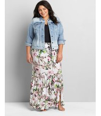 lane bryant women's pull-on crepe midi skirt with slit 26/28 white tropical floral