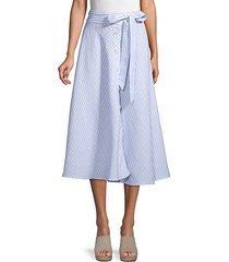 striped linen button-front skirt