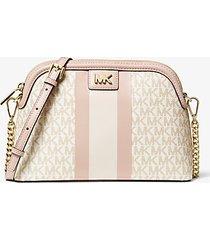 mk borsa a tracolla grande bombata a righe con logo - vanilla/soft pink - michael kors