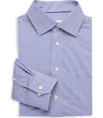 eton men's classic-fit gingham dress shirt - blue - size 16.5