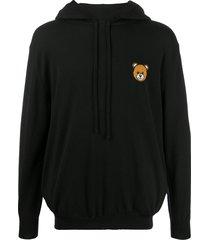 moschino teddy bear knitted hoodie - black