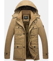 plus size giacca invernale imbottita per uomo imbottita con cappuccio multi tasche
