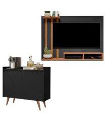 kit painel para tv 48 polegadas dubai preto com nature e aparador buffet 2 portas retro clean preto