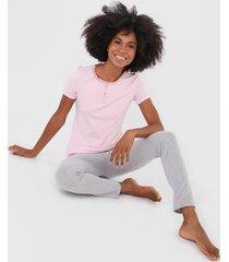 pijama malwee liberta botãµes rosa/cinza - rosa - feminino - algodã£o - dafiti