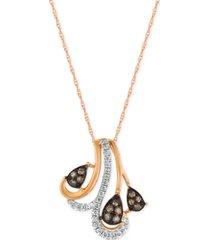 le vian chocolatier diamond pendant necklace (1/5 ct. t.w.) in 14k rose gold