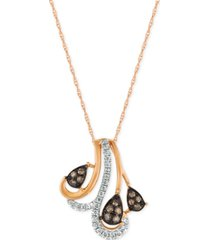 le vian chocolatier diamond pendant necklace (1/5 ct. t.w.) in 14k rose gold