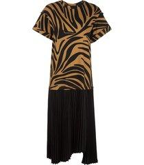 3.1 phillip lim pleated zebra print t-shirt dress - brown
