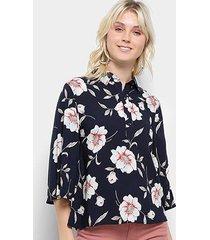 blusa top modas floral manga flare botões feminina