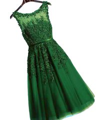 kivary sheer bateau tea length short lace prom homecoming dresses emerald green