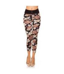 trendy thermo leggings met bloemen-print zwart