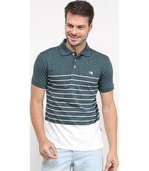 camisa polo gajang bicolor listras masculina