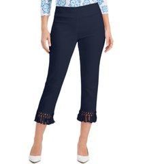 jm collection pull-on tassel-hem capri pants, created for macy's