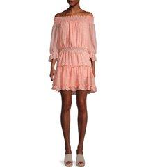 lea & viola women's floral off-the-shoulder dress - peach floral - size s