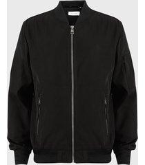 chaqueta calvin klein bomber negro - calce regular