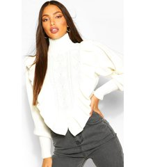 tall ruffle knitted high neck sweater, white