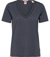 basic jersey tee with piping detail t-shirts & tops short-sleeved blå scotch & soda
