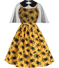 halloween spider print cami dress with mesh poncho