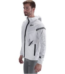 jaqueta corta-vento com capuz nike rise 365 wildrunner - masculina - branco