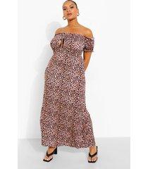 plus luipaardprint maxi jurk met uitgesneden hals, brown