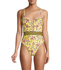 floral-print lace one piece swimsuit