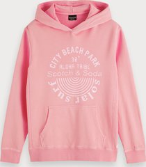 scotch & soda garment-dyed hoodie met artwork