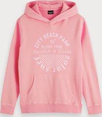 scotch & soda garment-dyed hoodie met artwork