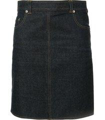 chanel pre-owned straight mini denim skirt - blue