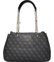 lorenna girlfriend satchel bags top handle bags svart guess