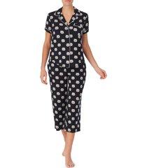 women's kate spade new york print jersey crop pajamas, size large - black