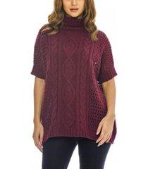 ax paris women's high neck cable knit sweater