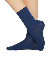 calzedonia - short cotton socks with comfort cut cuffs, 36-38, blue, women