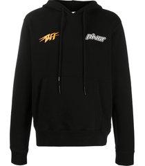 off-white thunder popover hoodie - black