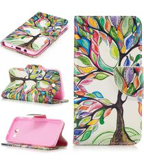 galaxy j3 2017 case,xyx [tree of life] pu leather wallet case kickstand cover wi