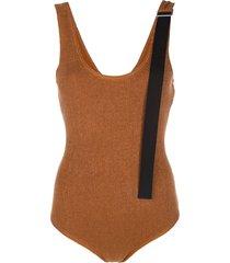 jil sander contrast-strap knitted bodysuit - brown