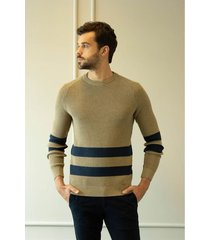 sweater tejido para hombre cuello redondo con rayas
