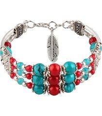 braccialetto etnico d'argento tibetano del pendente del braccialetto variopinto del braccialetto della boemia per lei