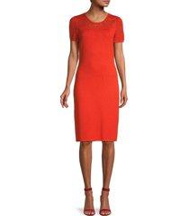 st. john women's contrast knit sheath dress - orange - size 14