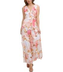 karl lagerfeld paris printed ruffled maxi dress