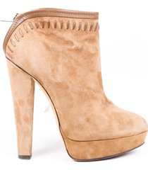 jimmy choo brown suede platform heeled booties brown sz: 7.5