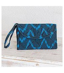cotton wristlet bag, 'midnight blue zigzag' (guatemala)