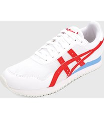 tenis lifestyle blanco-rojo-azul asics runner