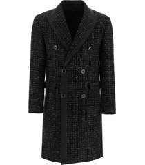 amiri double-breasted boucle coat with lame