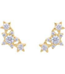 orecchini a lobo in oro giallo con tre stelle e zirconi per donna