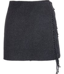 anthracite mini skirt with fringes