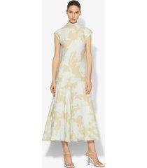 proenza schouler brush print cowl back dress mint/taupe big brush 6
