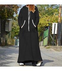 zanzea de mujeres longitud sudaderas casual vestido maxi largo sudadera camisa de vestir completa plus -negro
