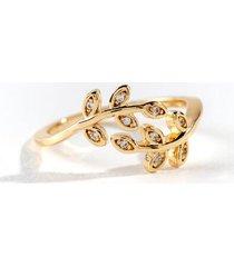 adeline leaf crossover ring - gold