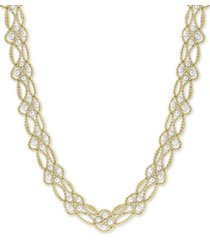 "effy cultured freshwater pearl (3-1/2mm) interlocking lace 22"" statement necklace in 18k gold-plated sterling silver"