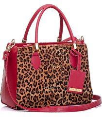 bolsa dhaffy bolsas animal print baú vermelho