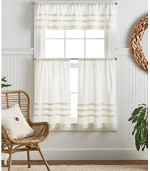 martha stewart collection water's edge tufted 3 piece valance and tier set